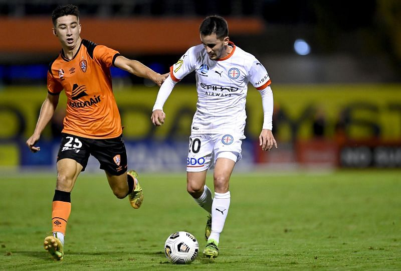 Adrian Luna of Melbourne City breaks away from the defence during the A-League match between the Brisbane Roar and Melbourne City at Moreton Daily Stadium (Photo by Bradley Kanaris/Getty Images)
