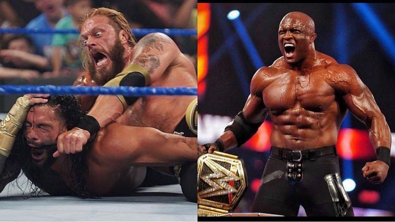यूनिवर्सल चैंपियन रोमन रेंस, ऐज और WWE चैंपियन बॉबी लैश्ले