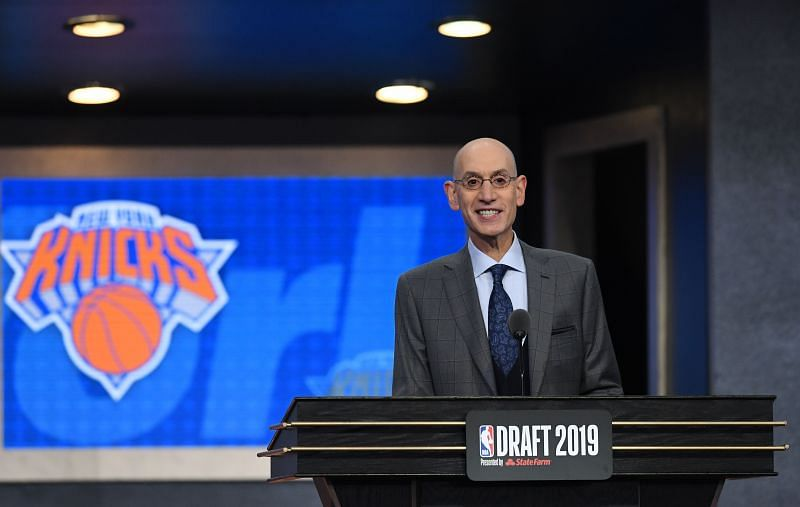 NBA Commissioner Adam Silver prepares to announce the third overall pick by the Knicks