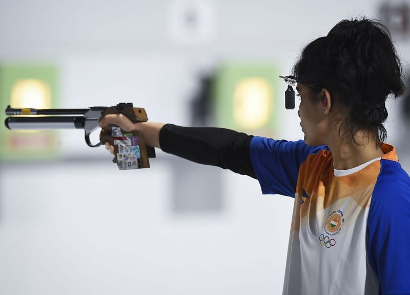Pistol shooting in progress at the Buenos Aires Youth Olympics