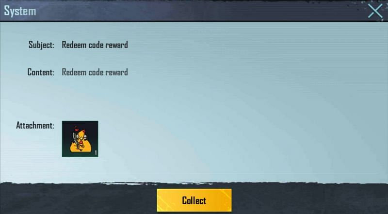 1x Heart (Chicken) is the reward for the redeem code (Image via PUBG Mobile)