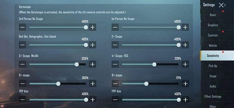Players can tweak the Gyroscope sensitivity in BGMI