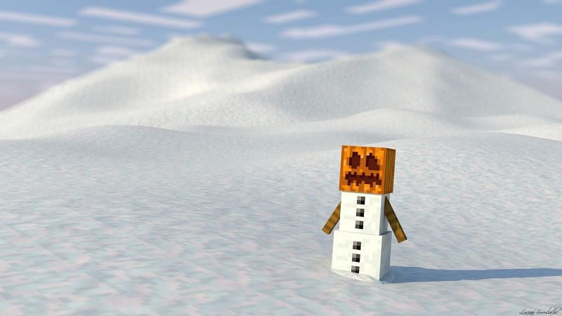 A lone snow golem literally just chilling (Image via Reddit)