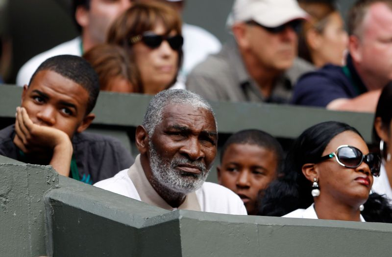 Richard Williams watches daughters Serena Williams and Venus Williams play against each other at the Wimbledon Lawn Tennis Championships in July 2010 in London, England