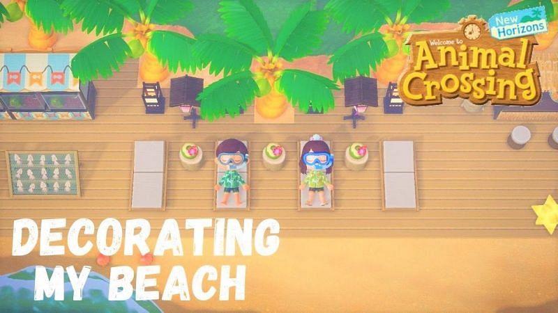 Beach decoration ideas in Animal Crossing: New Horizons (Image via MushroomGames)