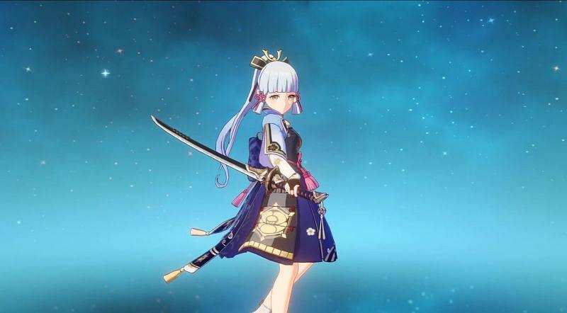 Ayaka wielding the Amenoma Kaeguchi (Image via Dimbreath)