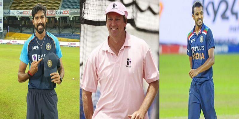 Sandeep Warrier, Glenn McGrath and Chetan Sakariya