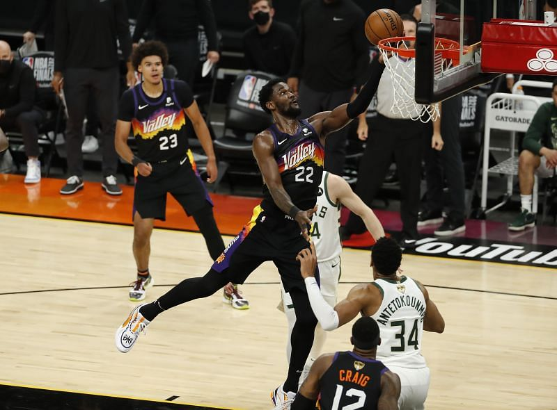 Deandre Ayton of the Phoenix Suns in action during Game 1 of the 2021 NBA Finals