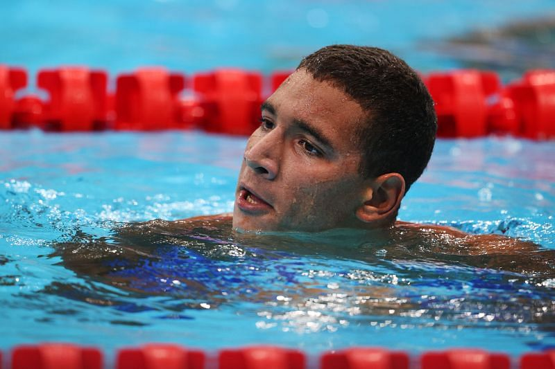 Swimming - Olympics: Day 2 Ahmed Hafnaoui celebrates after winning the gold medal in men's 400m freestyle final at Tokyo Olympics 2020