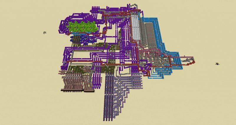 An incredibly impressive 4-bit redstone computer (Image via u/KorallTheCoral on Reddit)