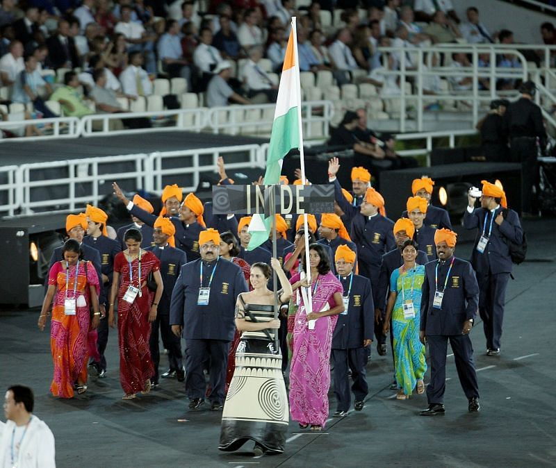 Anju Bobby George leading the Indian contingent in the opening ceremony of the 2004 Athens Olympics