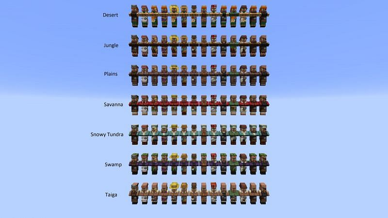 A cool image of all villager biome variations (Image via imgur)