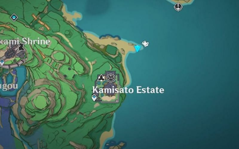 Location of the second old stone slate on the map (Image via Genshin Impact)