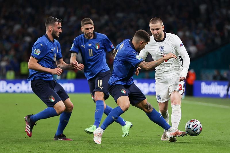 Luke Shaw (right) opened the scoring for England in the UEFA Euro 2020 Final.