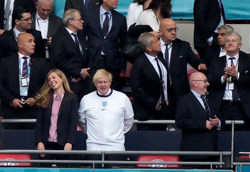 Boris Johnson in attendance at Wembley for the UEFA Euro 2020 Final