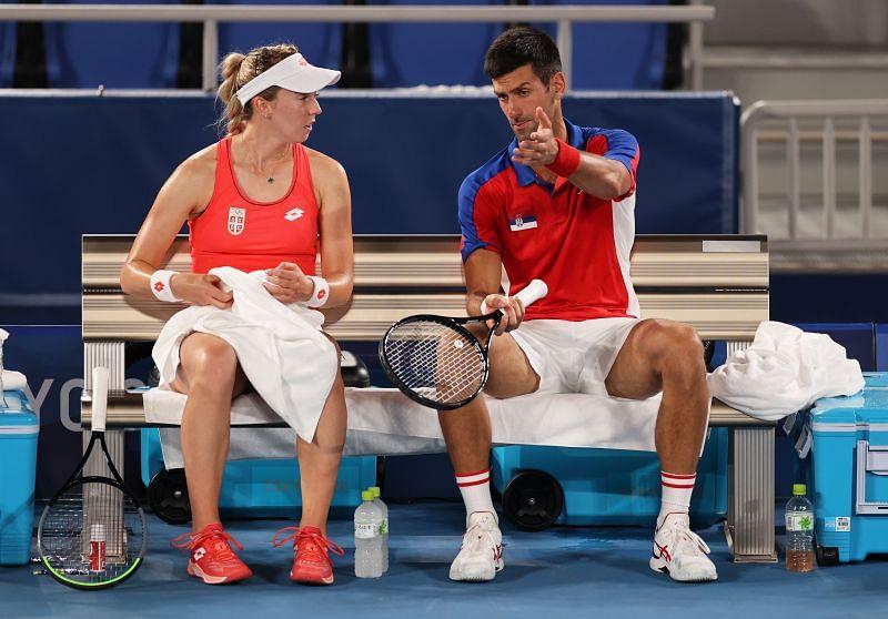 Novak Djokovic talks tactics with Nina Stojanovic