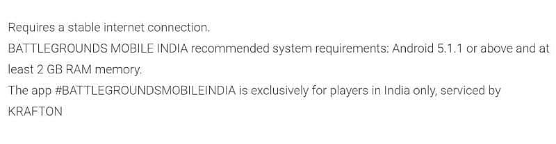 System requirements of BGMI