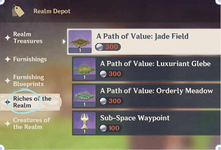 Buying seeds from Realm Depot (Image via miHoYo)