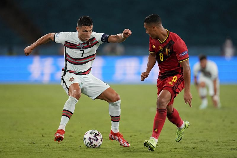 Youri Tielemans (right) in action for Belgium at Euro 2020