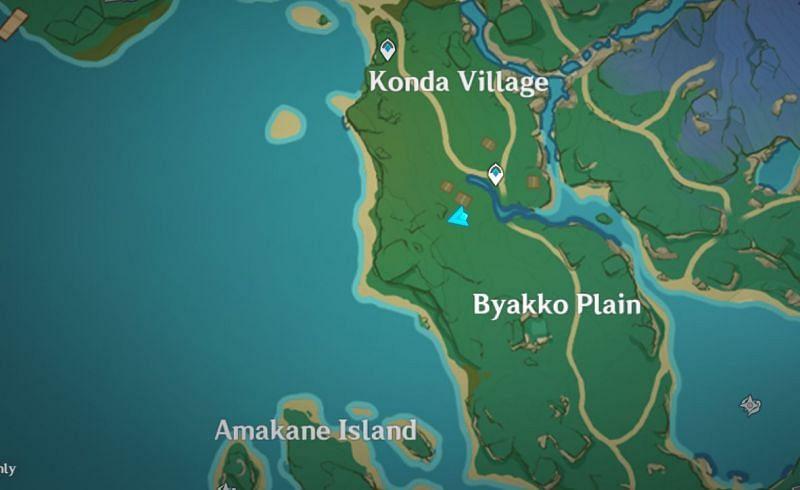 Ubicación del pozo en el mapa (en la foto a través del impacto de Jenshin)