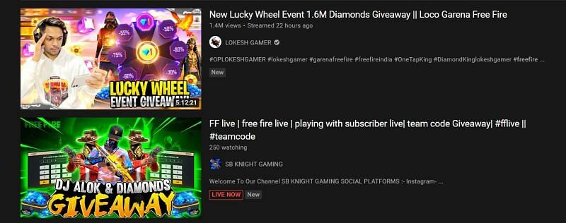 Giveaways are a way to get free diamonds (Image via YouTube)