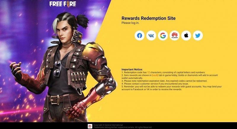 You are required to login using any one of the available methods (Image via Free Fire)