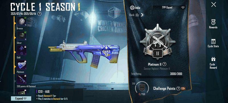 New ranked season UI in 1.5 update (Image via Krafton)