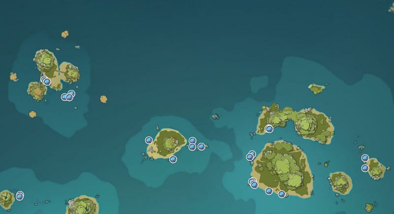 Sea Ganoderma locations on Twining Isle (image via Genshin Impact Interactive World Map)
