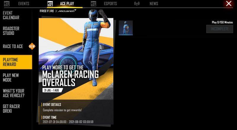 The racing overalls (Image via Free Fire)