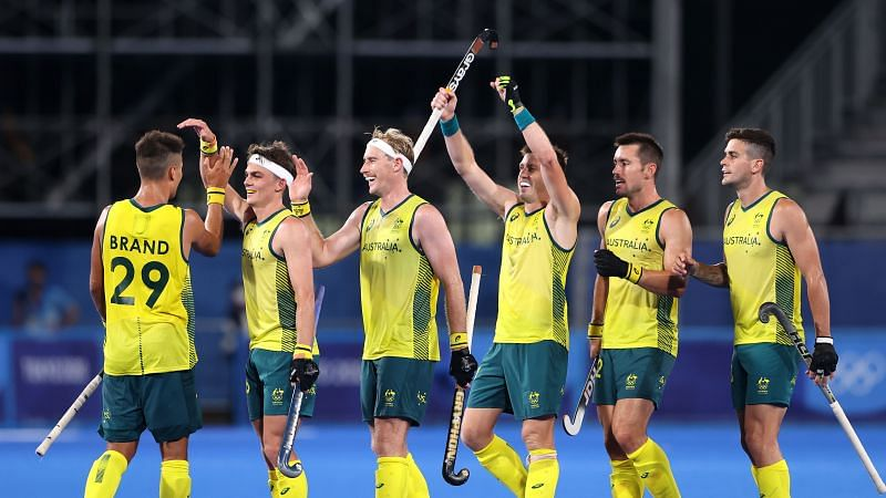 Australia celebrate their win over India in the men's hockey match at the Day 2 of Olympics 2021