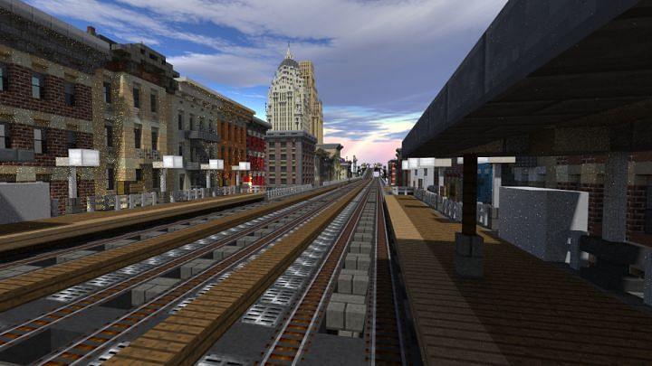 Un système de transport en commun peut également être construit sous terre, comme un système de métro réel (Image via Planet Minecraft)