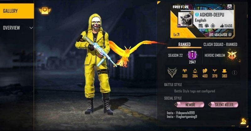 Aghori Gaming's Free Fire details (Image via Free Fire)