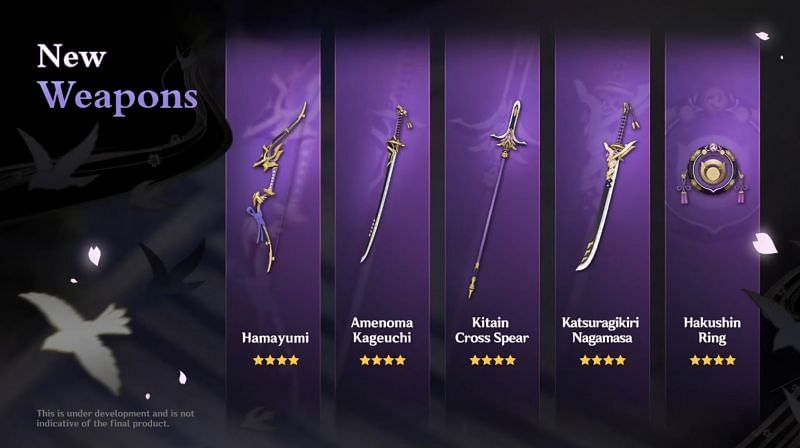 New 4-star weapons in Genshin Impact V2.0