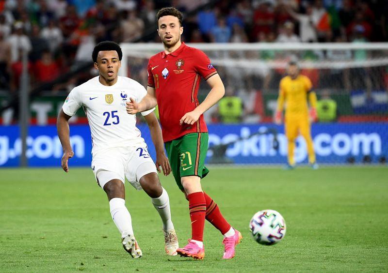 Jules Kounde in action for France