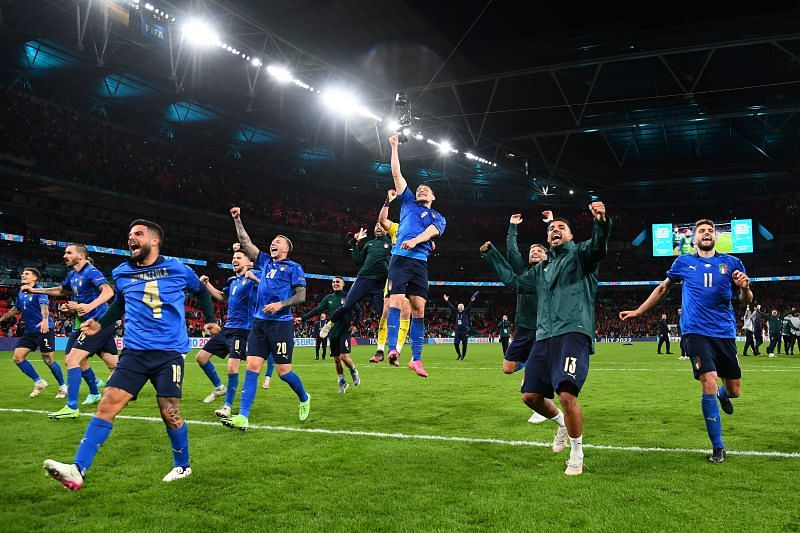 Italy players are ecstatic after beating Spain in a penalty shootout to reach the Euro 2020 final.