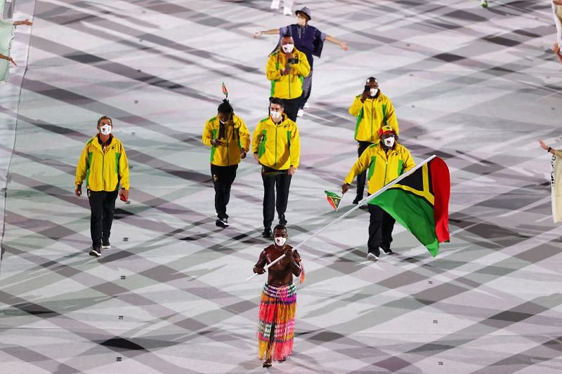 Flag bearer Riilio Rii of Team Vanuatu during the Opening Ceremony of the Tokyo 2020 Olympic Games