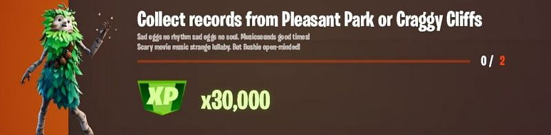 """""""Collect records from Pleasant Park or Craggy Cliffs"""" Legendary challenge (Image via HYPEX/Twitter)"""