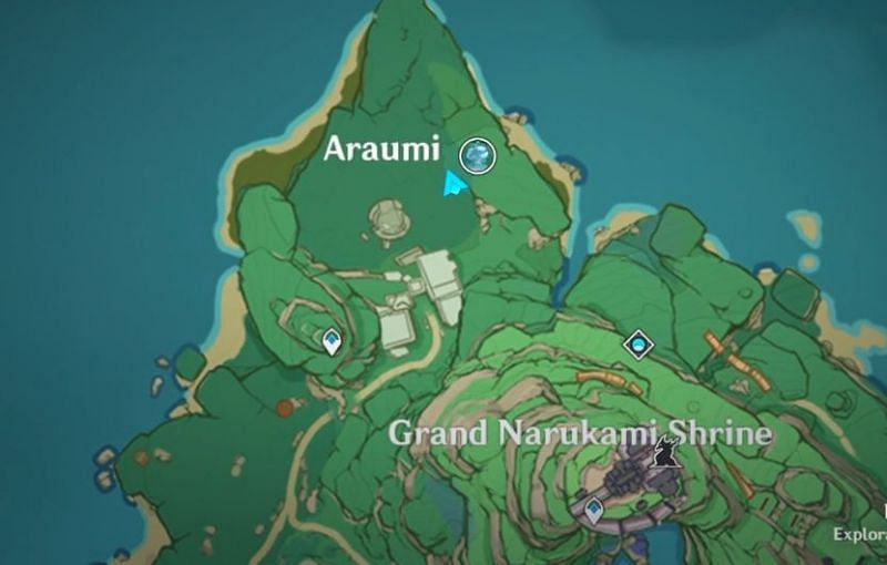 Location of the third old stone slate on the map (Image via Genshin Impact)