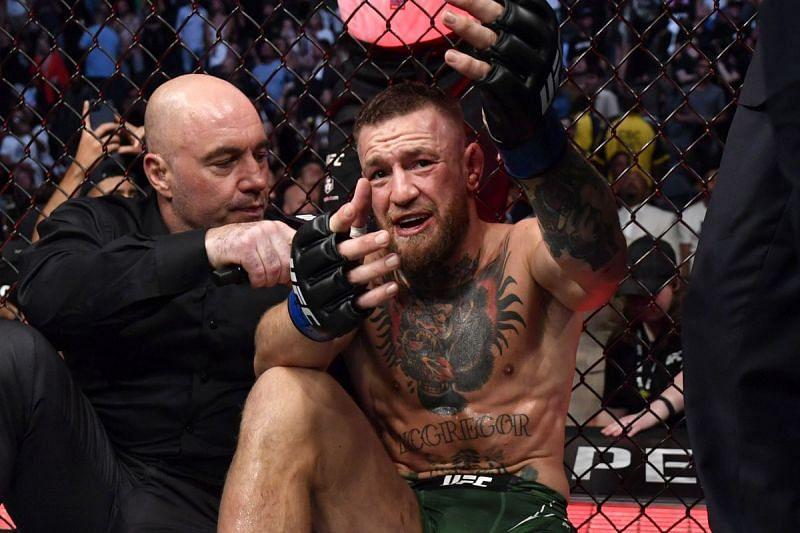 Joe Rogan interviewing Conor McGregor at UFC 264
