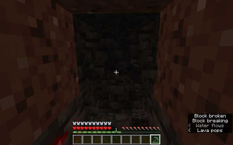 Lava can be heard and discvoered with subtitles (Image via Minecraft)