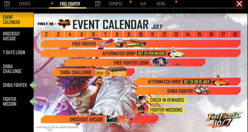 Calendar of the events