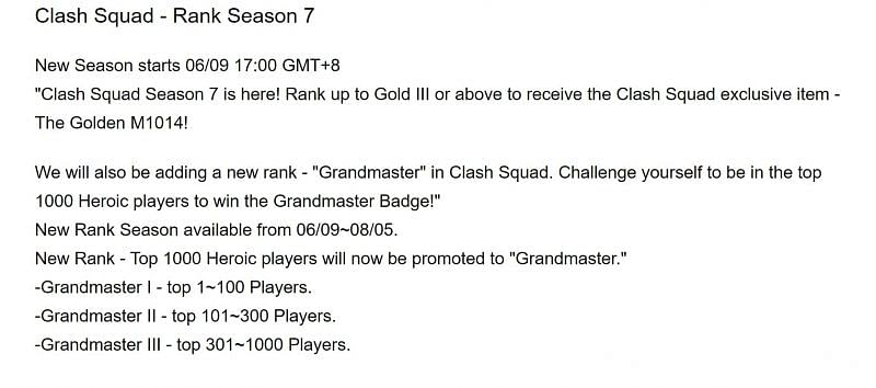 OB28 patch notes state that Clash Squad Rank Season 7 ends on August 5th (Image via Free Fire)