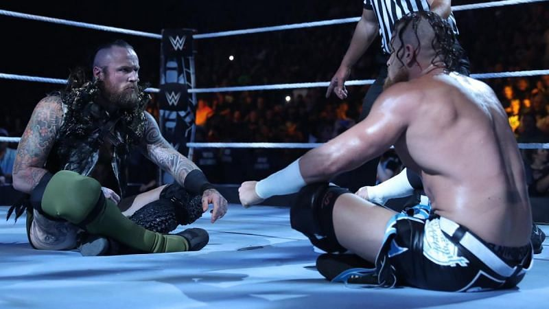 Buddy Murphy (right) also feuded with Aleister Black (left) in WWE