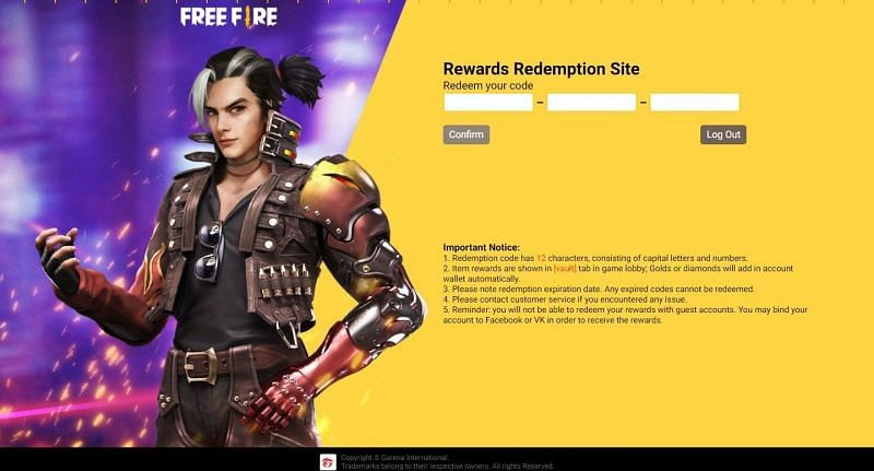 """Enter the Free Fire redeem code into the text field and click """"Confirm"""" (Image via Free Fire)"""