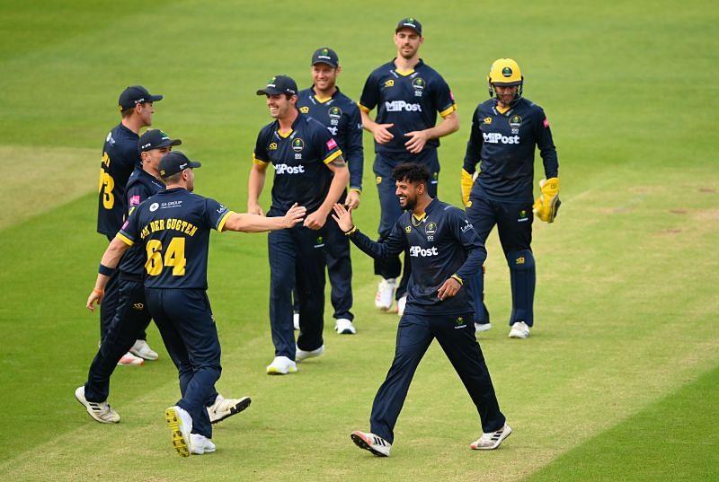 Glamorgan team celebrate during a Vitality T20 Blast match