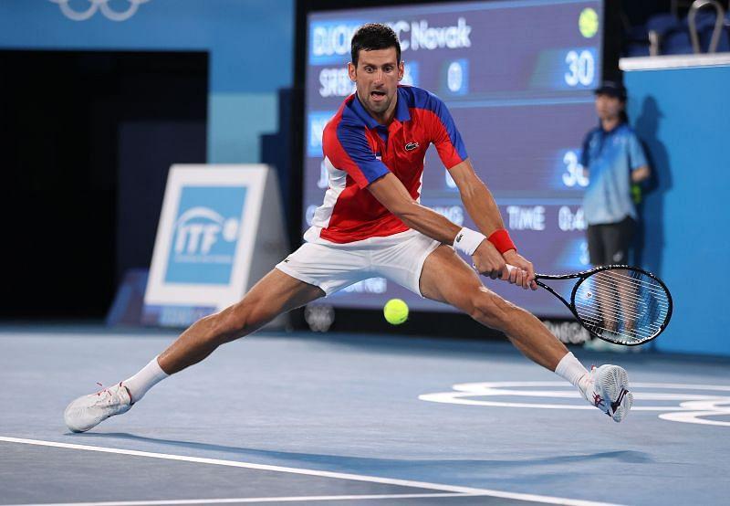 Novak Djokovic in action against Kei Nishikori