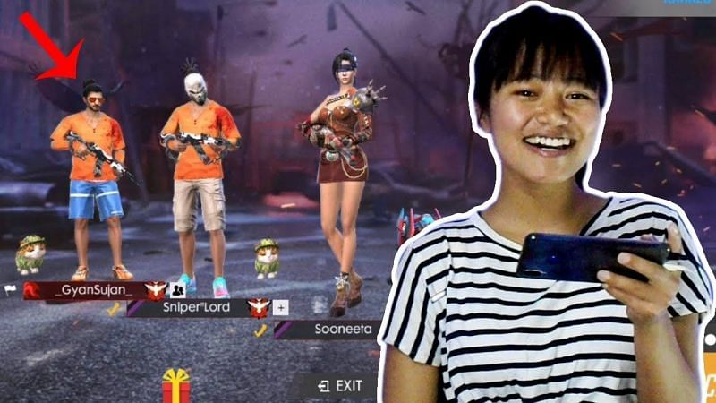 Sooneeta has played with another popular Free Fire gamer, Gyan Sujan (Image via Sooneta; YouTube)