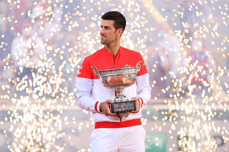 Novak Djokovic with the French Open trophy