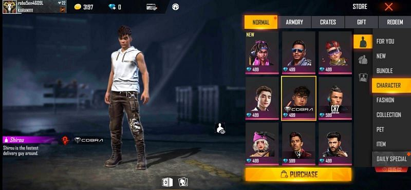 Free Fire character shop