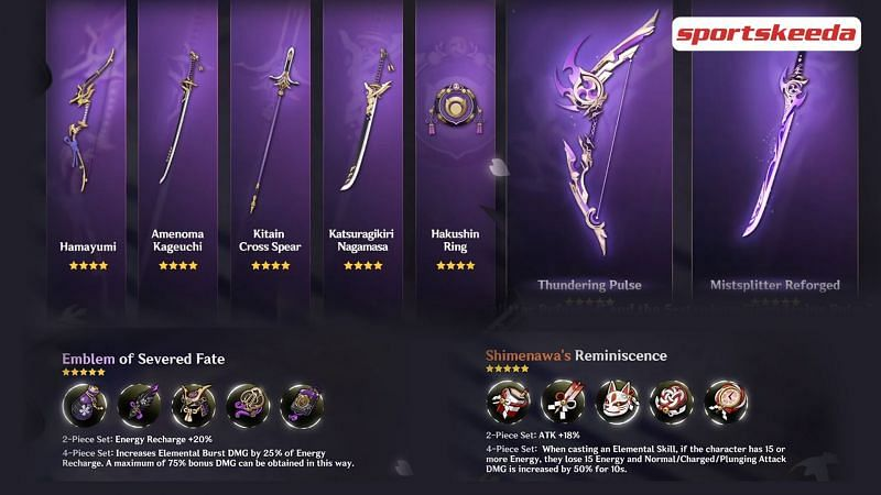 New 5-star weapons, artifacts and 4-star weapons to arrive in Genshin Impact V2.0 (Image via Sportskeeda)